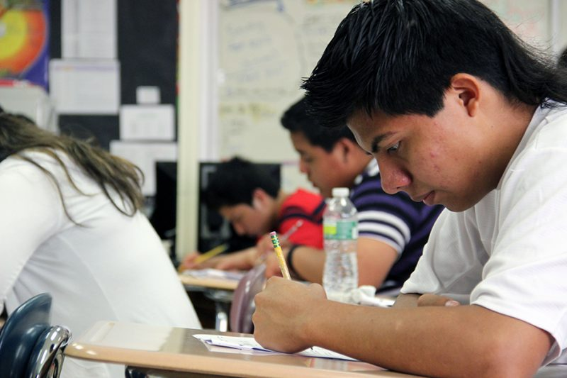 A student takes a quiz at a high school in Ossining, N.Y.