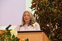 Vivian W. Pinn, M.D., Senior Scientist Emerita NIH, speaks at the dedication ceremony of a building renamed Pinn Hall in her honor at the University of Virginia School of Medicine in Charlottesville, VA.