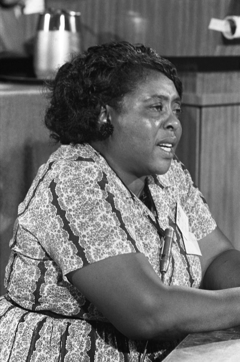 Civil Rights activist Fannie Lou Hamer at the Democratic National Convention in Atlantic City, August 1964.