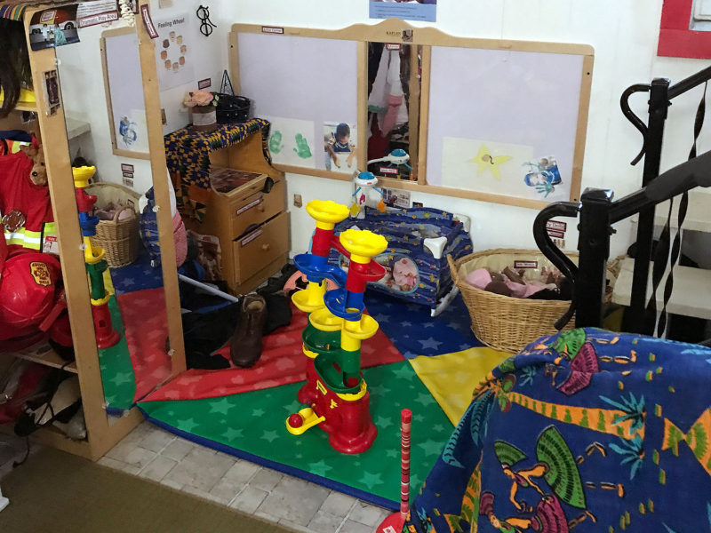The basement playroom at Lorna Parks' home-based child care program is stocked with toys for her young charges.