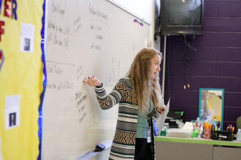 Amber Shirley, a sixth-grade math teacher at Mount View High School, teaches a lesson.
