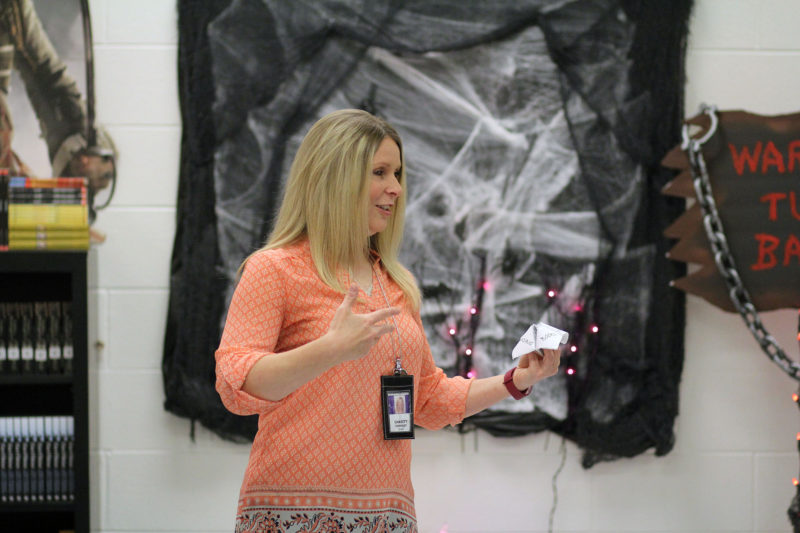 Chasity Kennedy, an English teacher at River View High School in McDowell County, teaches a lesson.