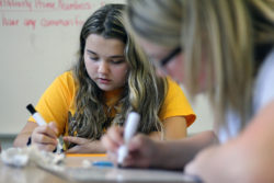 Students in Mount View High School teacher Amber Shirley's math class work on an assignment.