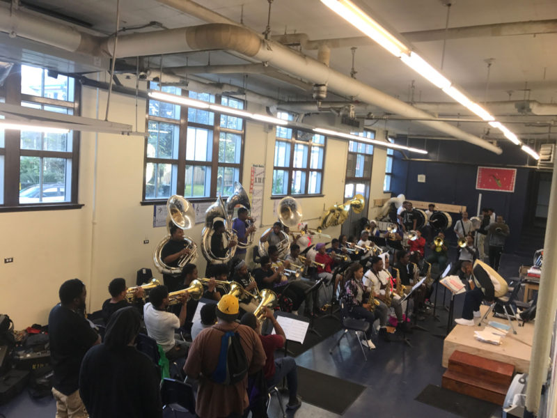 The KIPP Renaissance band gets ready for their performance at the Homecoming Game.