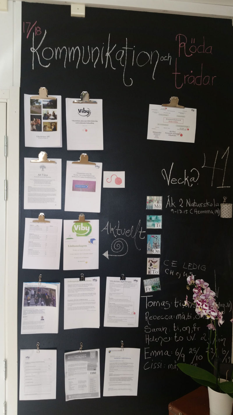 A plan for how Vibyskolan, a free school outside Stockholm, will incorporate career education into the classroom starting with first grade hangs in the office. School officials also sent a copy to the Swedish School Inspectorate.