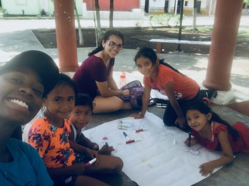 Dorchester, Mass. teen Shayna Morales Soto works with local children in Yalcobá, a Mayan village in Mexico's Yucatan Peninsula.