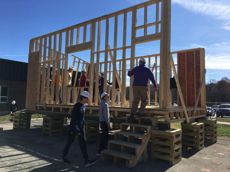 "In less than two months, students in a new ""Geometry in Construction"" class at Eureka High School near St. Louis, Missouri, constructed most of a tiny house frame from the ground up. They even built the cribs that hold up the house."