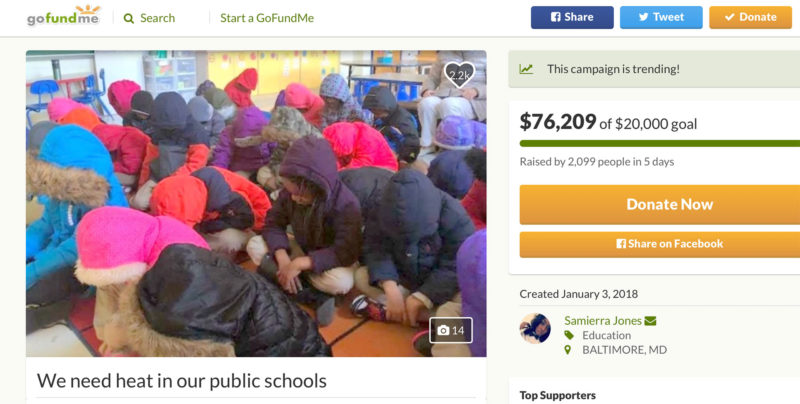 A fundraising page was created to raise money to buy warm clothing for students in cold Baltimore schools.