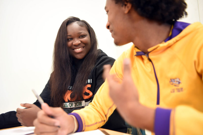 Terr'Nique Delair sits in English class at George Washington Carver High School.