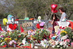 Coral Springs, FL — The memorial at Marjory Stoneman Douglas High School where 17 victims were killed in a mass shooting on Feb. 14, 2018.