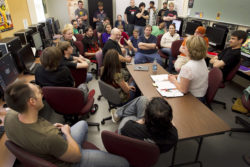 InInstructors lead a round table discussion with students at Austin Community College in Austin, Texas, to discuss their video game projects. The college is affiliated withe Achieving The Dream network.