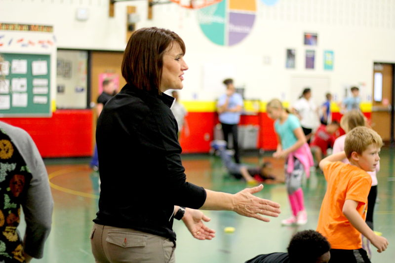"""Carrie Michiels, the physical education teacher at Horizons Elementary School, introduced """"Fit in 15"""" breaks for classroom teachers to give kids the opportunity to move."""