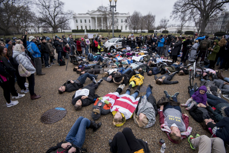 UNITED STATES - FEBRUARY 19: Washington, D.C., area students and supporters protest against gun violence with a lie-in outside of the White House on Monday, Feb. 19, 2018, after 17 people were killed in a shooting at Marjory Stoneman Douglas High School in Parkland, Fla., last week.