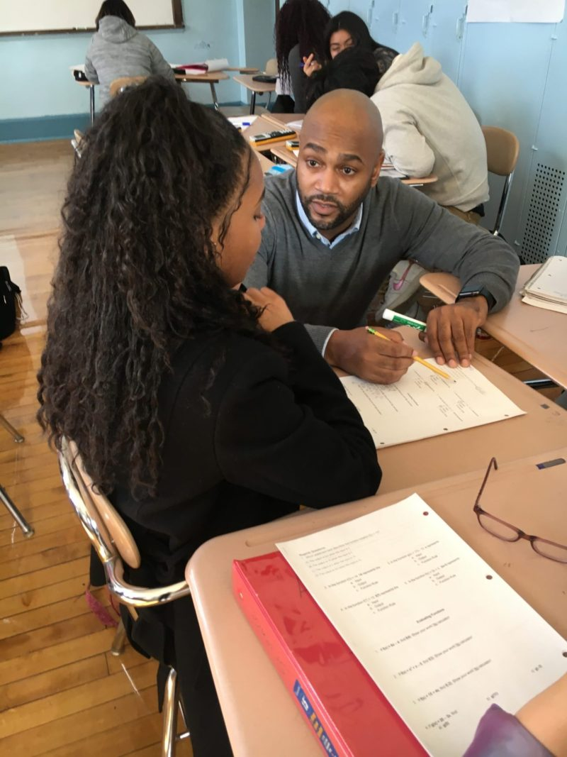 Students inside Michael Gallin's math class talk about their fear of math openly and try to manage it while doing in-class worksheets and homework.