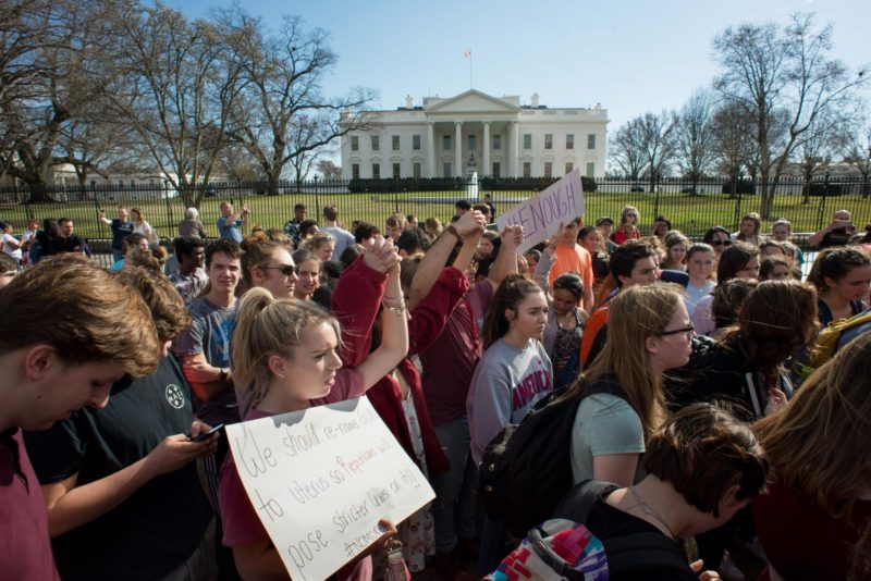 February 21, 2018 - Washington, D.C. — Area students walk out of class to demand gun control legislation at a gathering outside the White House.