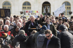 Washington, D.C. — Senate Minority Leader Chuck Schumer of New York and students at a March 14 rally in front of the Capitol during a national walkout by students.