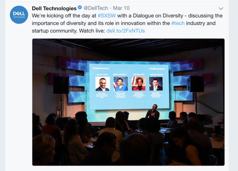 Dell advertises a panel at SXSW about diversity in tech.