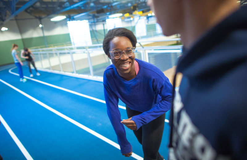Gabriella Okparaoko, a student in the Automotive Technology program, participates in indoor track after school.