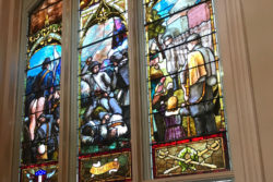 A stained glass window depicts the University Greys, a group of Ole Miss students who left school to fight in the Confederate Army. They suffered 100 percent casualties.
