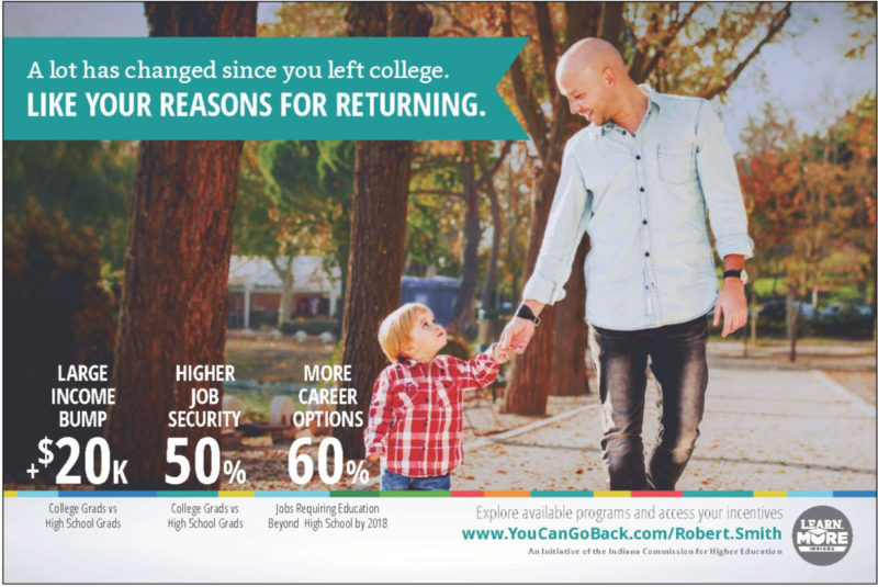 "One of the advertisements produced by the ""You Can. Go Back"" campaign in Indiana, among the several states trying to get college dropouts to finish their college educations."