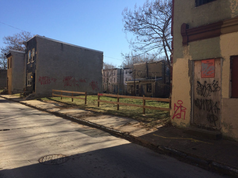 A block in the North Philadelphia neighborhood surrounding Vaux Big Picture High School, in one of the city's most persistently poor areas.