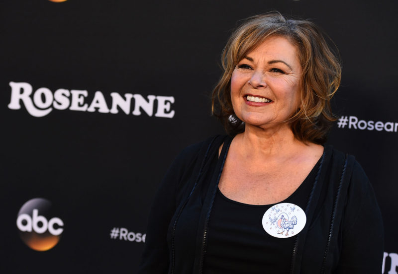 "Roseanne Barr arrives at the Los Angeles premiere of ""Roseanne"" on Friday, March 23, 2018 in Burbank, Calif."