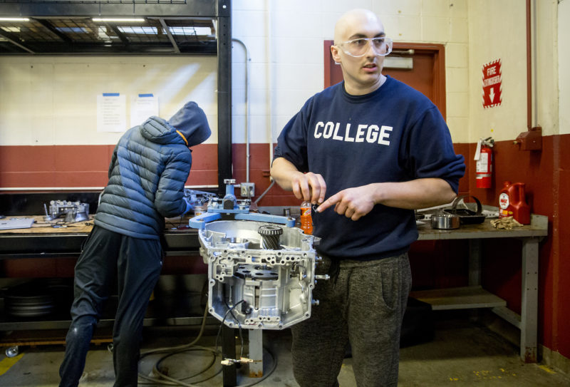 Matt Dickinson started toward a bachelor's degree, but it wasn't for him. Now he's studying to become an automotive repair technician. The placement rate in his program is 94 percent.