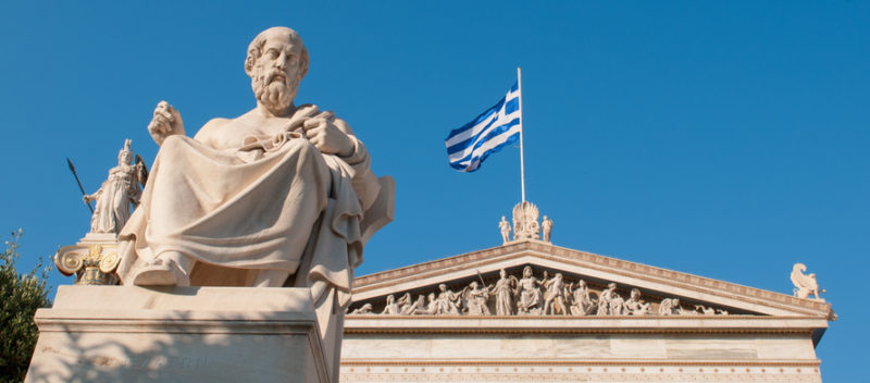 The statue of Plato in front of the Academy of Athens.