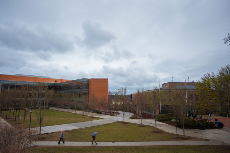The campus of Salem State University in Salem, Mass. Salem State, which went from five to 15 percent Hispanic over the past decade, is paying more attention to lagging graduation rates among its Hispanic students.