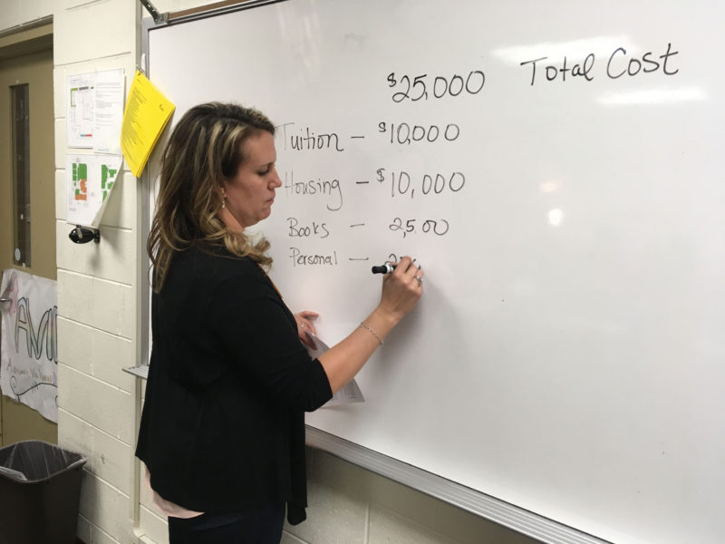 Aubrey Ranson, counseling department chair at William J. Palmer High School, breaks down a financial aid package during a postsecondary prep class for first-generation students.