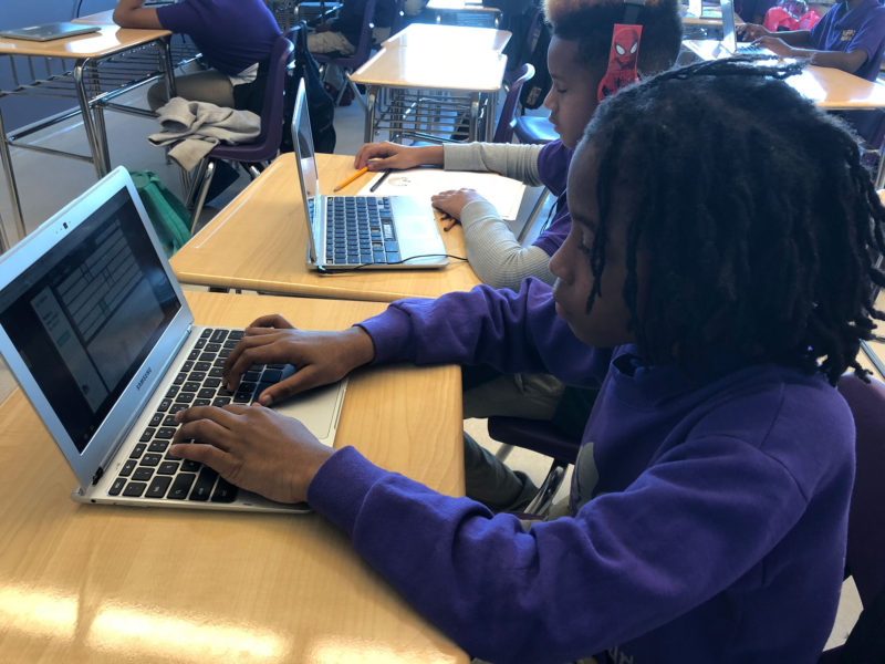 Sixth-grader DeVonté Trask plays a typing game during an intervention period at KIPP Morial charter school in New Orleans. KIPP won a $300,000 personalized learning grant from New Schools for New Orleans.