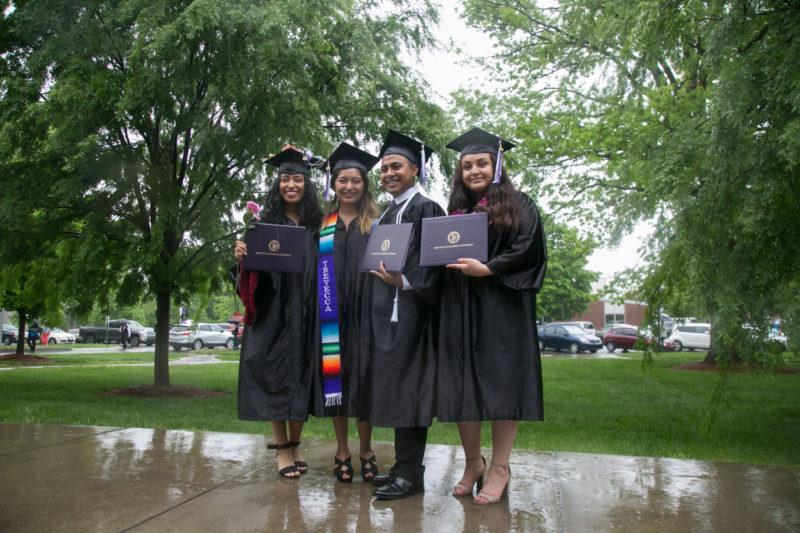 DACA students Vanessa Delgado, Maria Campos, Jacob Maldonado and Karla Arambula after graduating from Trevecca Nazarene University in Nashville, Tenn.