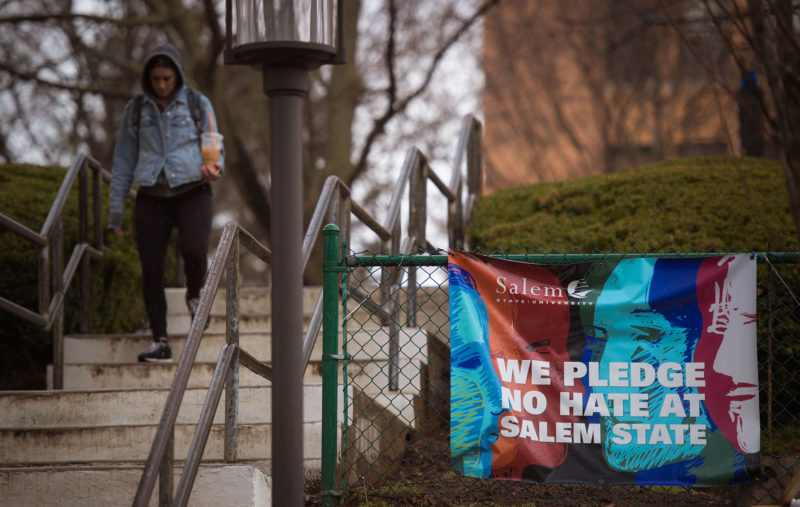 A sign on the Salem State University campus was hung in response to racist graffiti.
