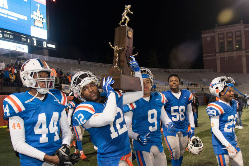 East St. Louis High School won Illinois' Class 7A high school football championship in 2016. Locals hope the city will be able to match its academic prowess with its legacy of athletic glory.