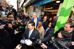 New York City Mayor Bill de Blasio and first lady Chirlane McCray meet with New York City School system Chancellor Richard Carranza at Katz's Deli Manhattan's Lower East Side on April 1, 2018.
