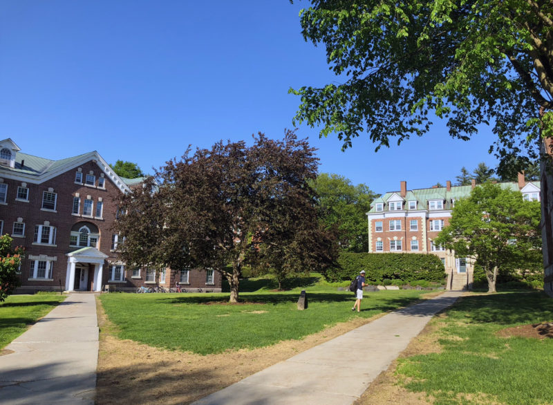 Dartmouth College on a rare hot day in the spring.