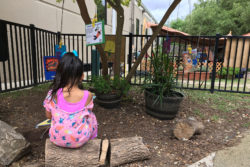 Students engage in creative activities on the playground at a San Antonio public preschool.
