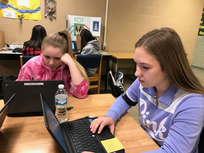 Northern Cass students Jaenna Wolff (left) and Abby Richman work on history and physical science, respectively, at the Jaguar Academy.