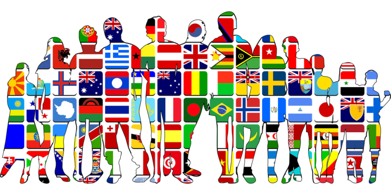 This image shows the different flags and ethnicity of individuals around the world.