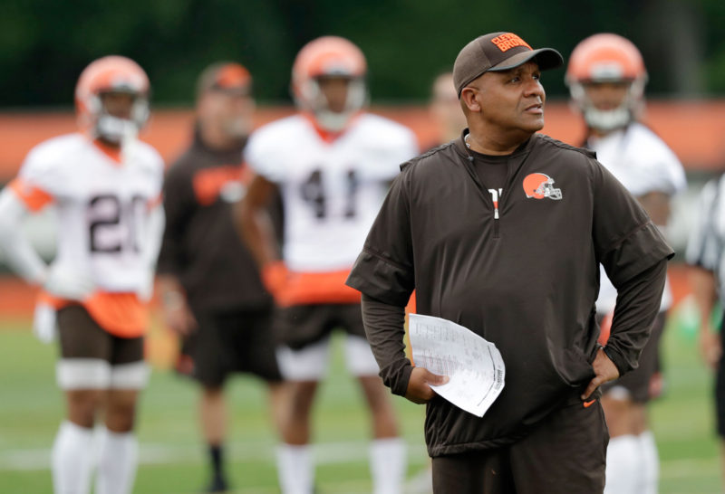 Cleveland Browns head coach Hue Jackson watches during practice at the NFL football team's training camp facility, Tuesday, June 12, 2018, in Berea, Ohio.