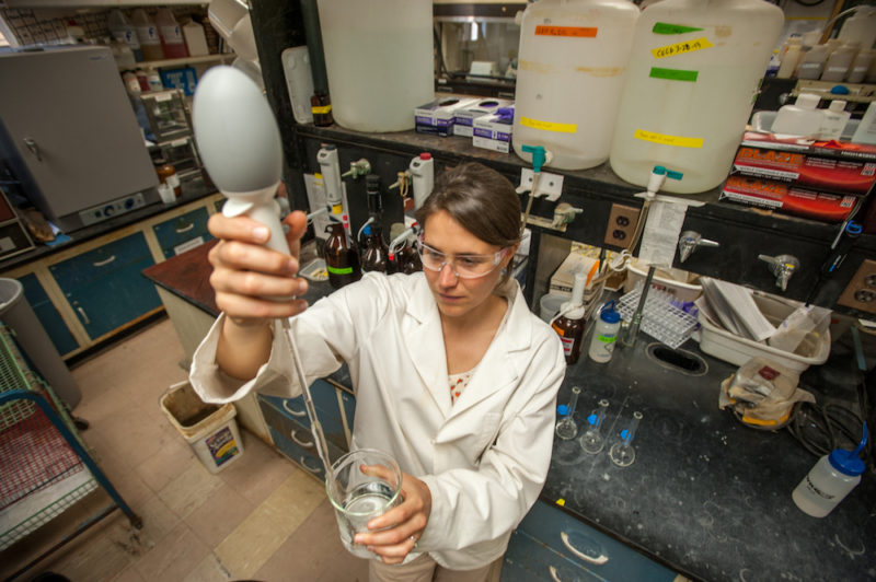 A graduate student working in science lab.