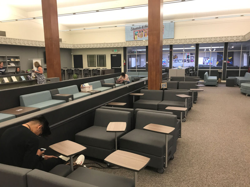 "With part of the grant money, Vista turned its library into a ""learning commons."" The space now serves as one of the school's primary gathering spaces, a gallery for student art and a technological hub."