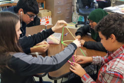 Freshmen at St. Louis Park High School, just outside of Minneapolis, take time out of their social studies class for a team-building exercise that is part of the school's Building Assets, Reducing Risks program.