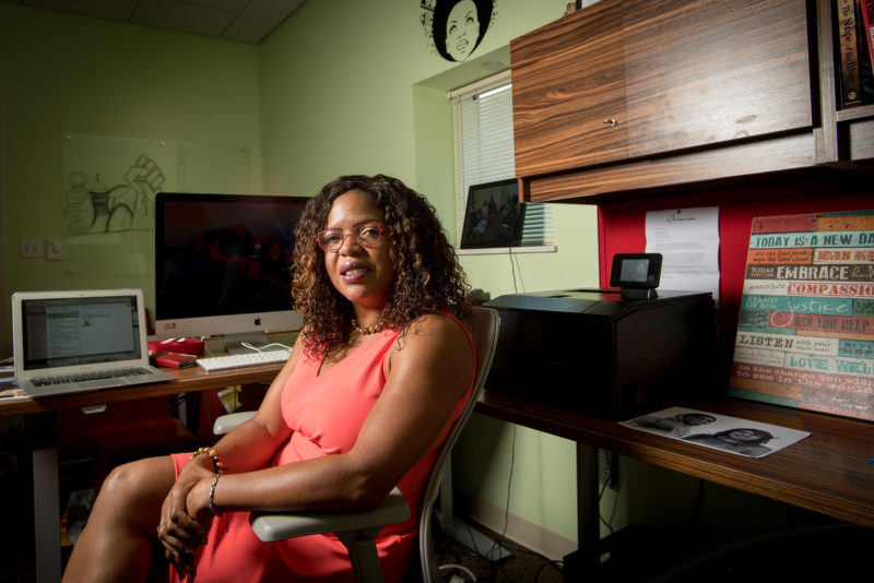 "Ebony McGee, a Vanderbilt University associate professor who studies diversity in education, in her office at Vanderbilt's Peabody College. Often hired as ""eye candy,"" McGee says, black faculty are often made to feel uncomfortable and leave."