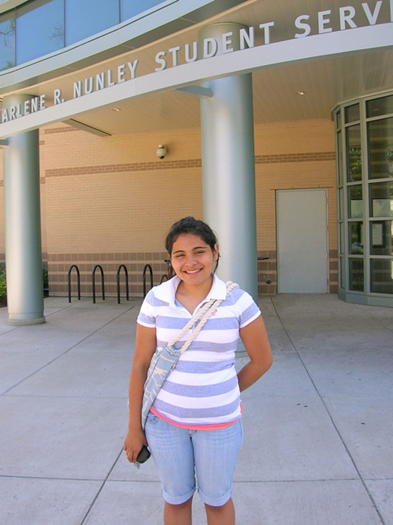 Katy Sorto outside the student center at Montgomery College in June 2008, a few days after her high school graduation.