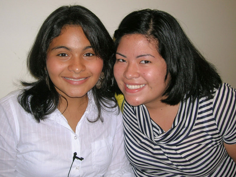 Katy Sorto and her friend Thalia Navarette on the first day of classes at Montgomery College, fall semester 2008.
