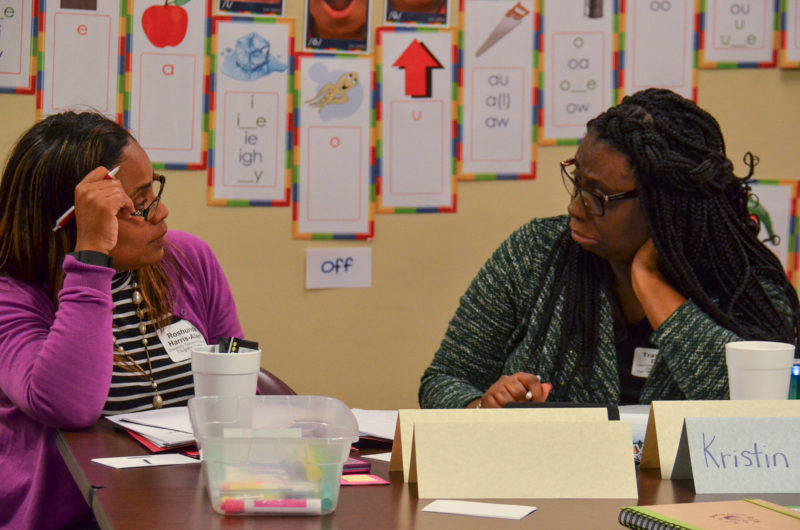 Roshunda Harris-Allen and Trashonda Dixon in LETRS training.