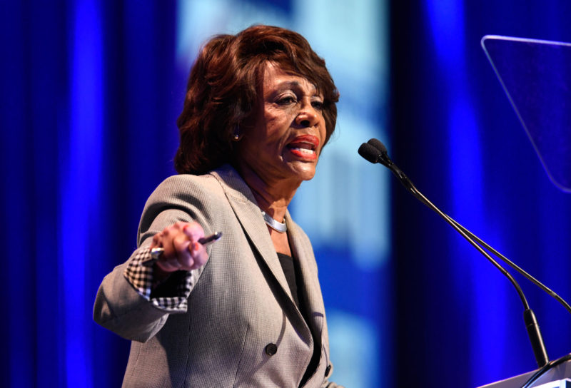 Rep. Maxine Waters, D-Calif., speaks at the 2018 California Democrats State Convention. She recently said many politicians who are considered good legislators help for-profit colleges.