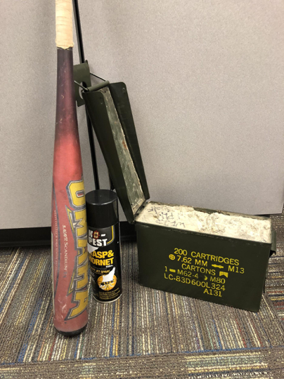 The baseball bat, cement hall pass and bug spray that high school teacher Margo L. has imagined using in an active shooter scenario.