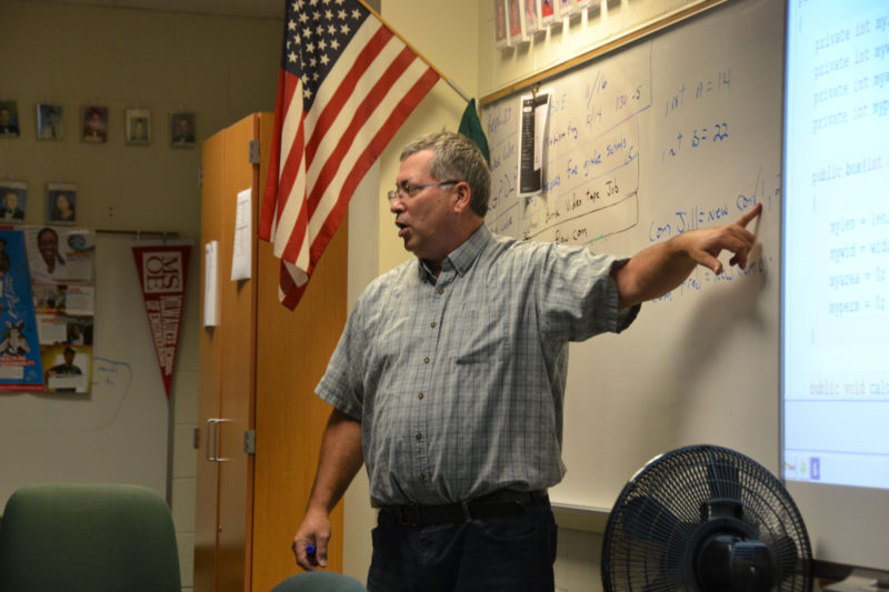 Bob Getka teaches a computer science class at Parker High School in Janesville, Wisconsin.